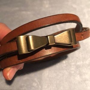 Skinny belt brass bow buckle Small